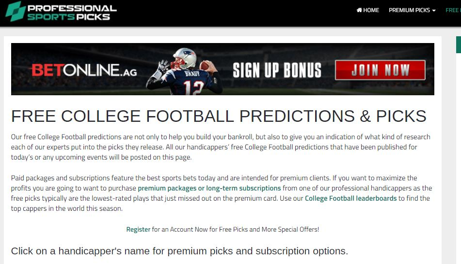 Free college football predictions